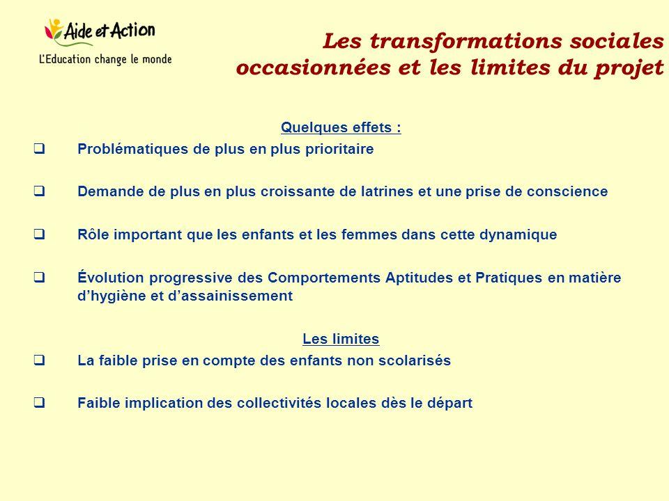 Les transformations sociales occasionnées et les limites du projet
