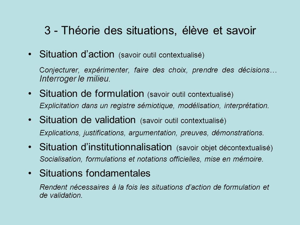 3 - Théorie des situations, élève et savoir