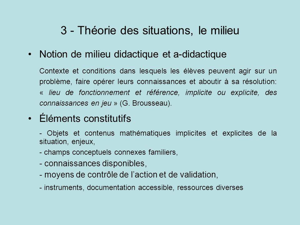 3 - Théorie des situations, le milieu