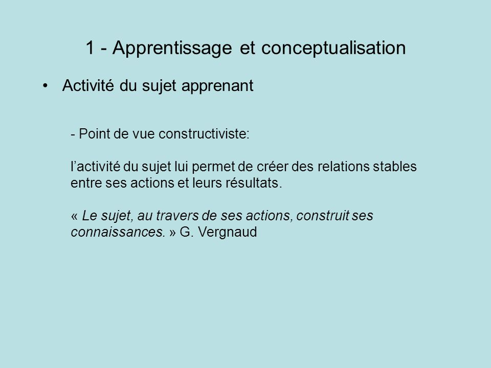 1 - Apprentissage et conceptualisation