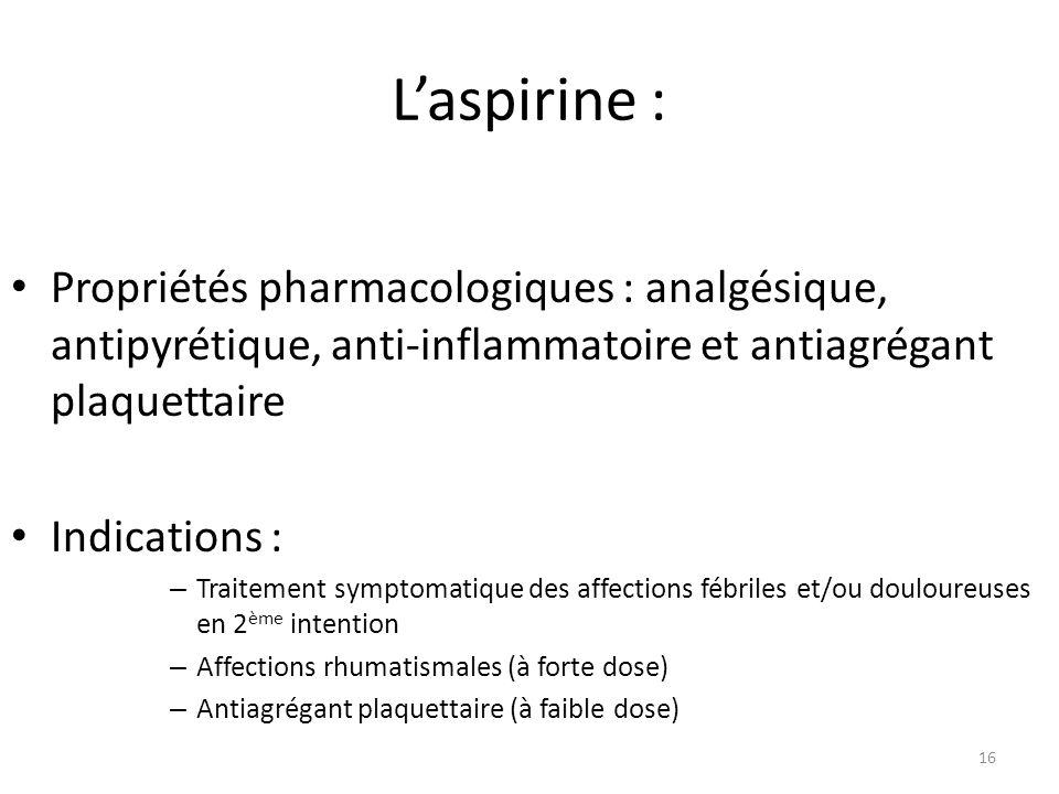 L'aspirine : Propriétés pharmacologiques : analgésique, antipyrétique, anti-inflammatoire et antiagrégant plaquettaire.