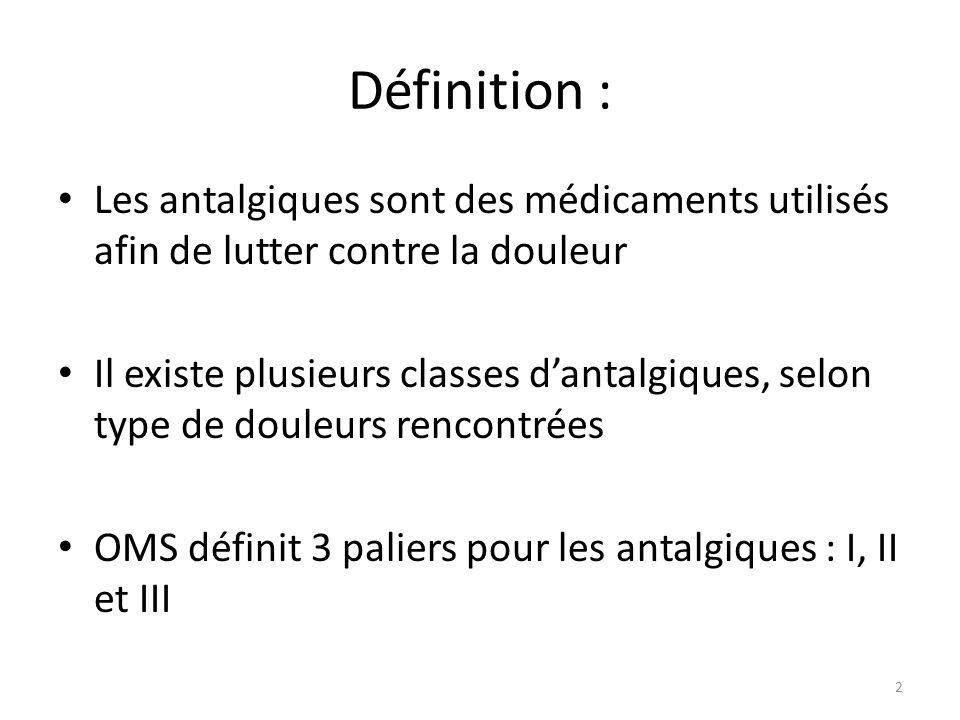 Définition : Les antalgiques sont des médicaments utilisés afin de lutter contre la douleur.