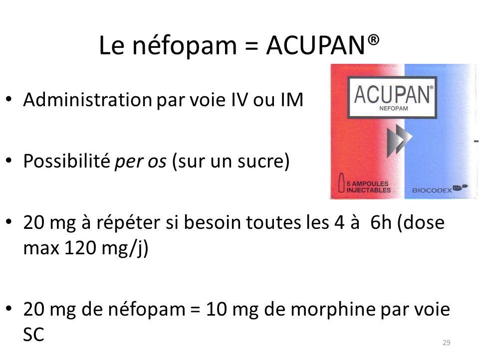 Le néfopam = ACUPAN® Administration par voie IV ou IM