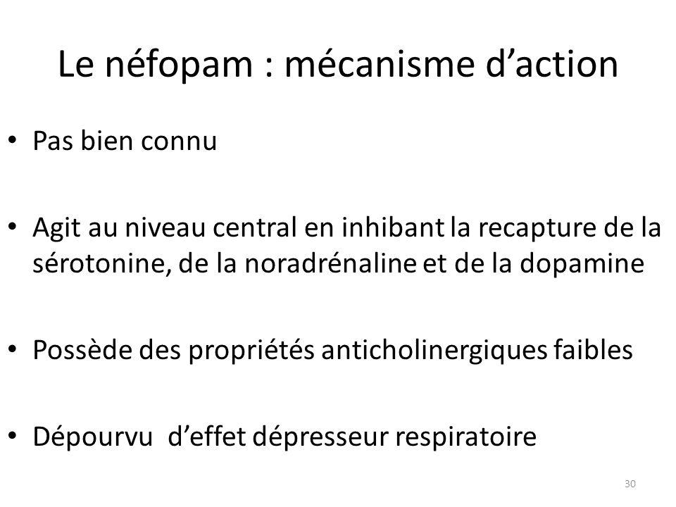 Le néfopam : mécanisme d'action