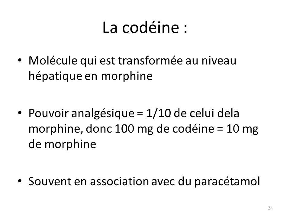 La codéine : Molécule qui est transformée au niveau hépatique en morphine.