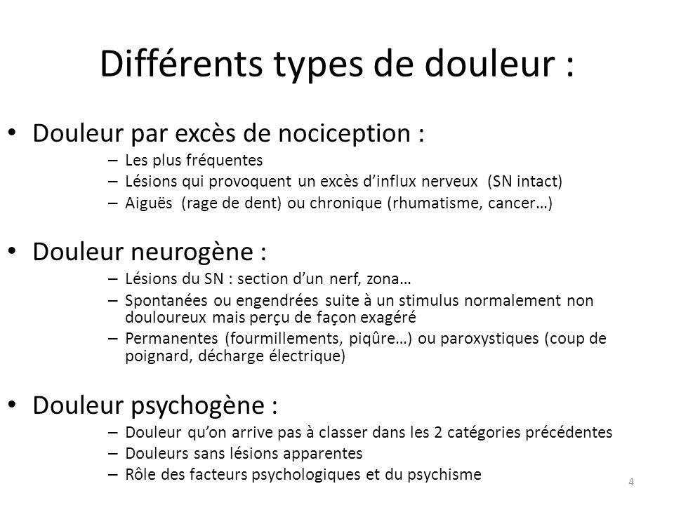 Différents types de douleur :