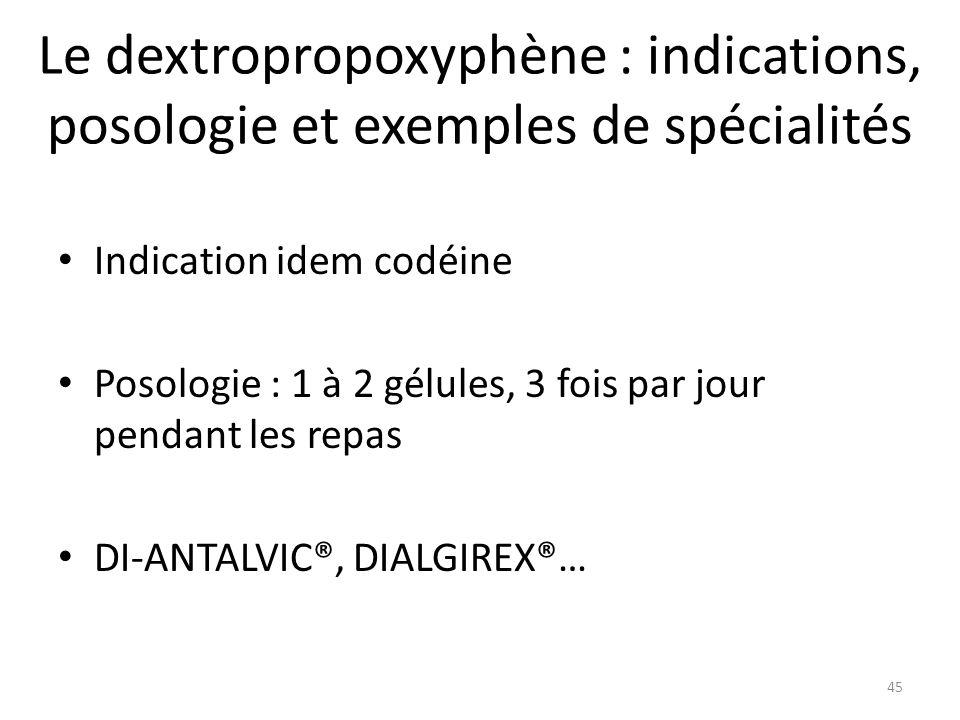 Le dextropropoxyphène : indications, posologie et exemples de spécialités