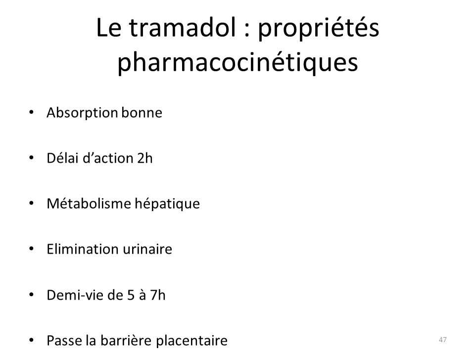 Le tramadol : propriétés pharmacocinétiques