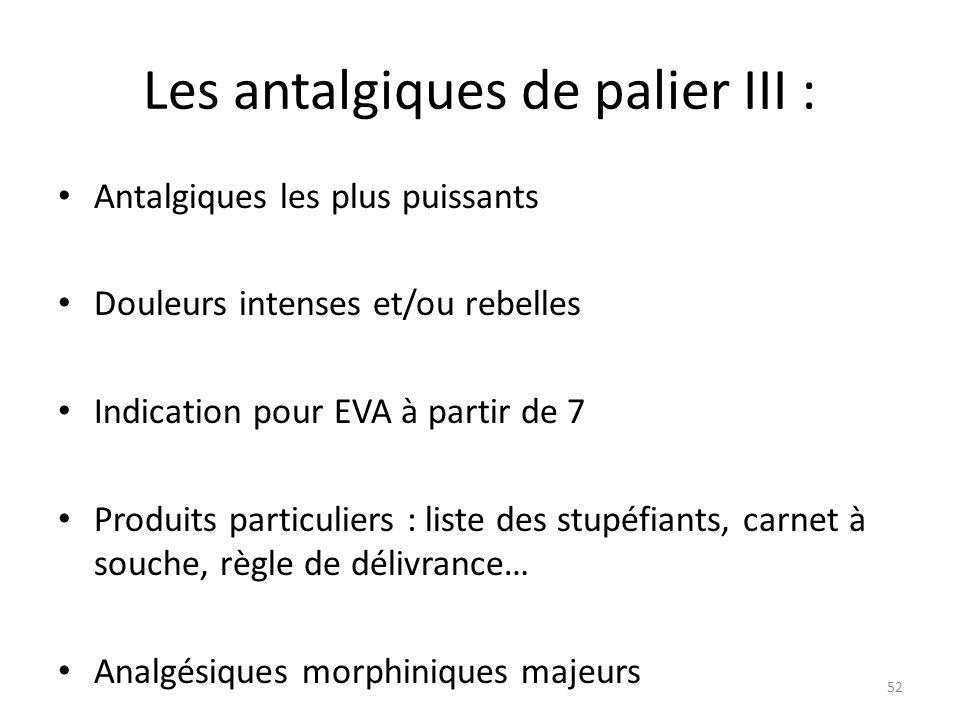 Les antalgiques de palier III :