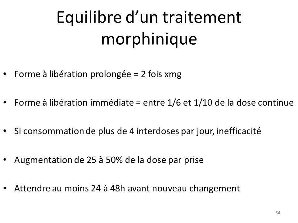Equilibre d'un traitement morphinique