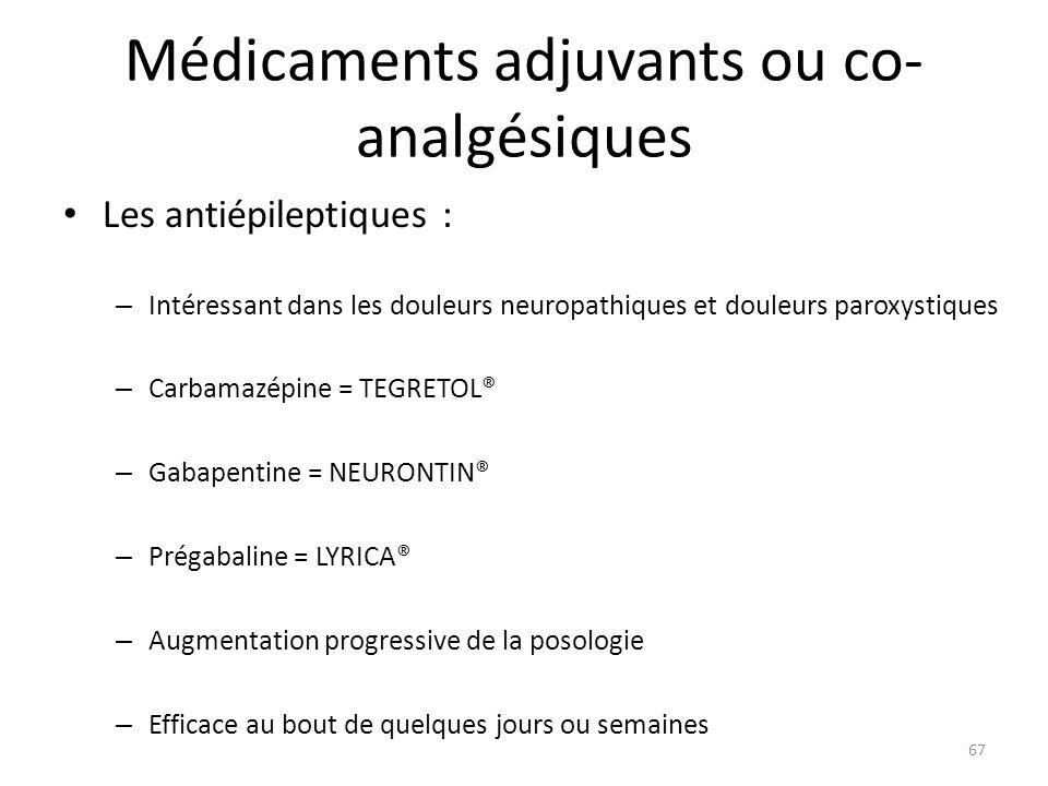 Médicaments adjuvants ou co-analgésiques