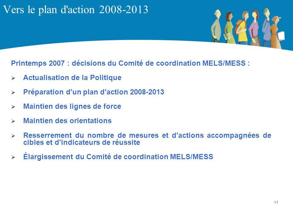Vers le plan d action 2008-2013 Printemps 2007 : décisions du Comité de coordination MELS/MESS : Actualisation de la Politique.