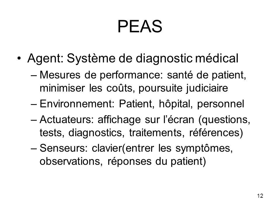 PEAS Agent: Système de diagnostic médical