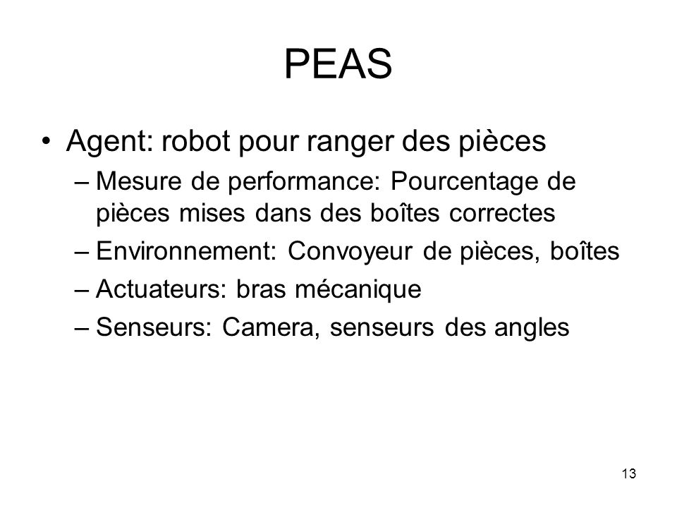 PEAS Agent: robot pour ranger des pièces