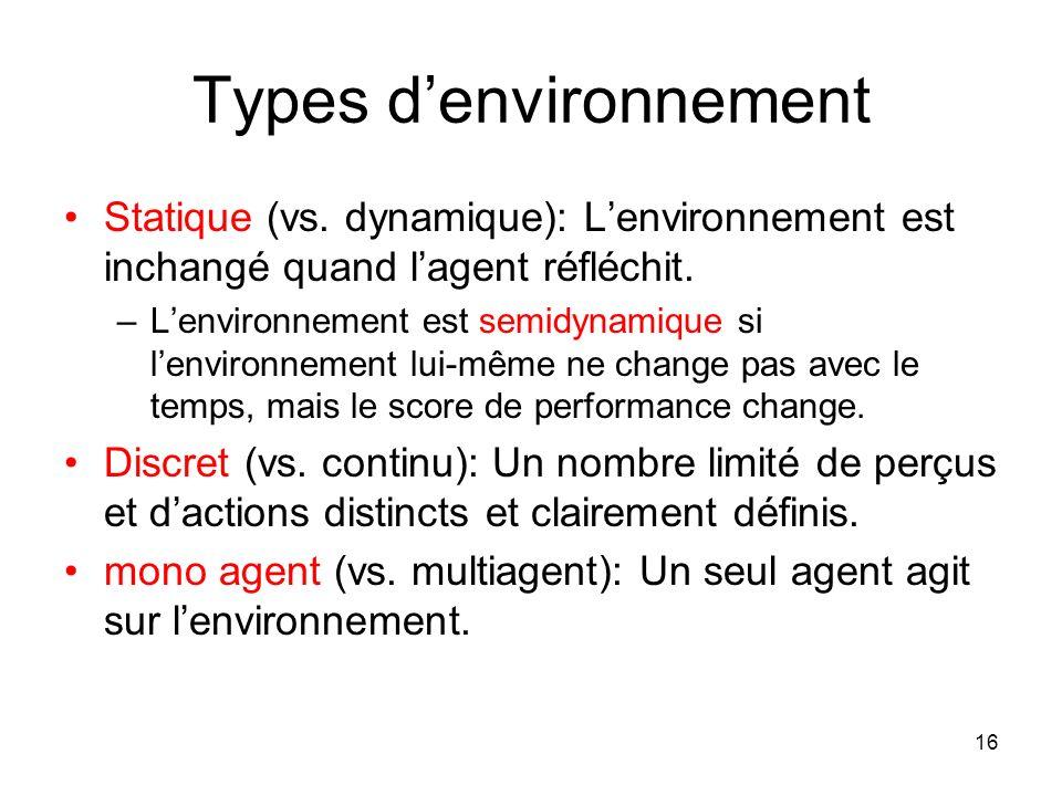 Types d'environnement