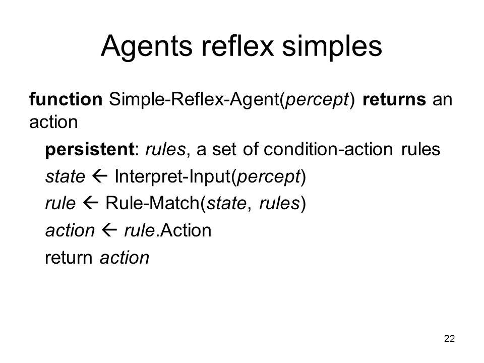 Agents reflex simples function Simple-Reflex-Agent(percept) returns an action. persistent: rules, a set of condition-action rules.