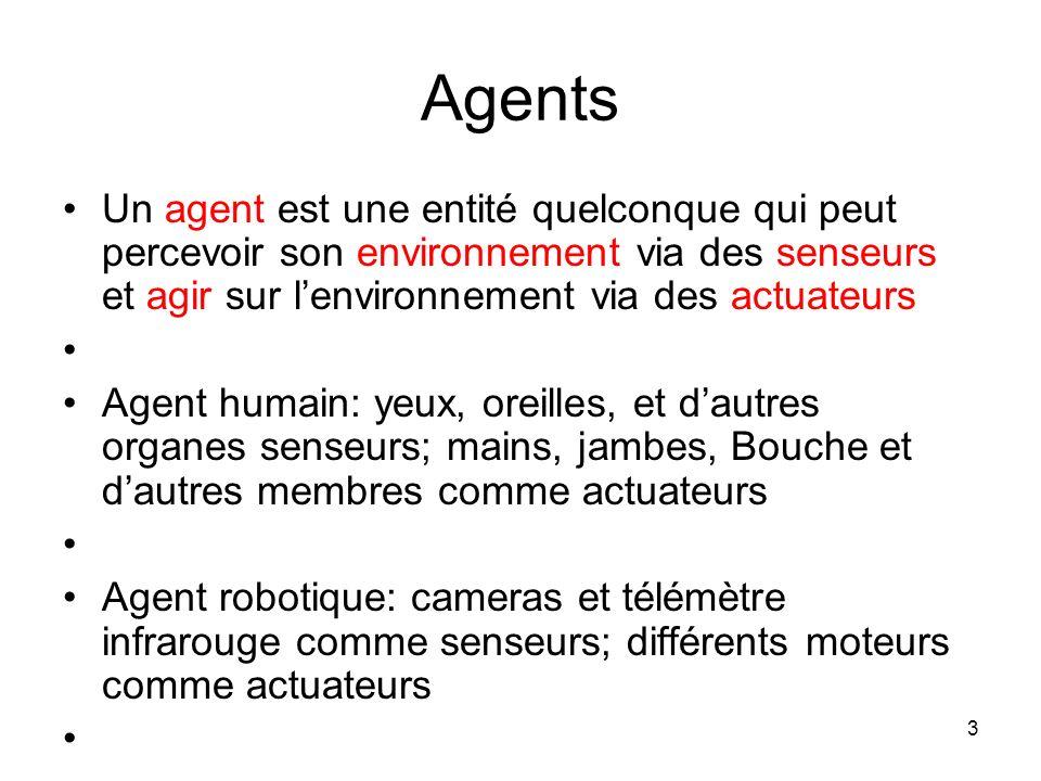 Agents Un agent est une entité quelconque qui peut percevoir son environnement via des senseurs et agir sur l'environnement via des actuateurs.