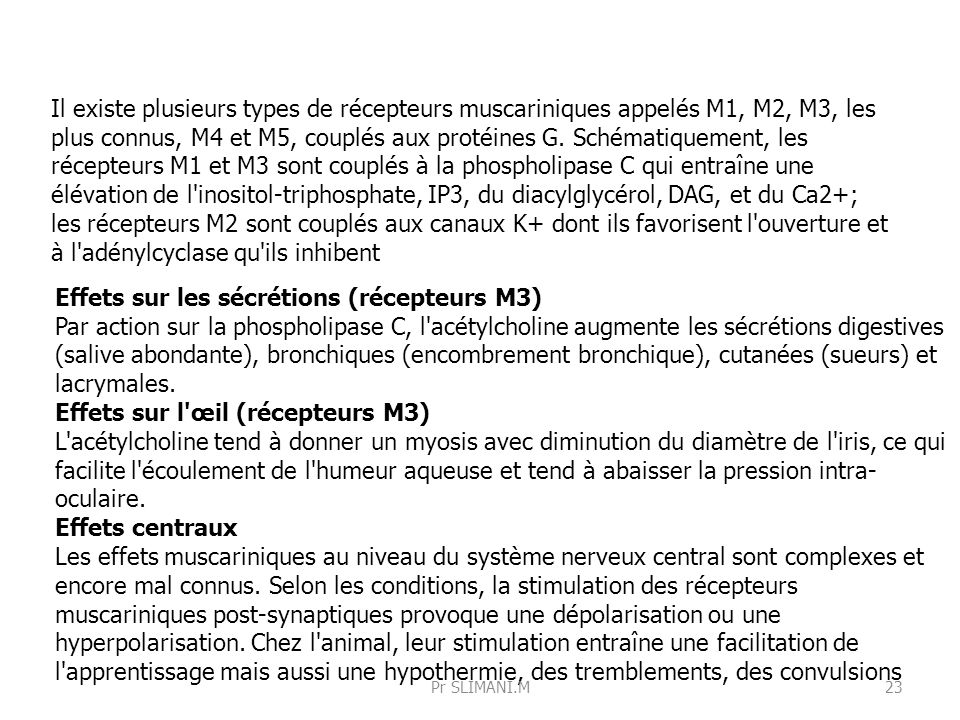 Effets sur les sécrétions (récepteurs M3)