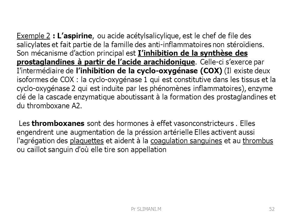 Exemple 2 : L'aspirine, ou acide acétylsalicylique, est le chef de file des salicylates et fait partie de la famille des anti-inflammatoires non stéroïdiens. Son mécanisme d'action principal est I'inhibition de la synthèse des prostaglandines à partir de l'acide arachidonique. Celle-ci s'exerce par I'intermédiaire de l'inhibition de la cyclo-oxygénase (COX) (Il existe deux isoformes de COX : la cyclo-oxygénase 1 qui est constitutive dans les tissus et la cyclo-oxygénase 2 qui est induite par les phénomènes inflammatoires), enzyme clé de la cascade enzymatique aboutissant à la formation des prostaglandines et du thromboxane A2.