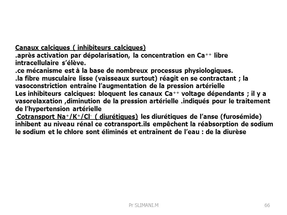 Canaux calciques ( inhibiteurs calciques)