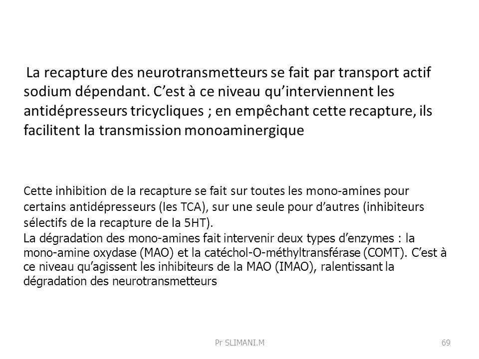 La recapture des neurotransmetteurs se fait par transport actif sodium dépendant. C'est à ce niveau qu'interviennent les antidépresseurs tricycliques ; en empêchant cette recapture, ils facilitent la transmission monoaminergique
