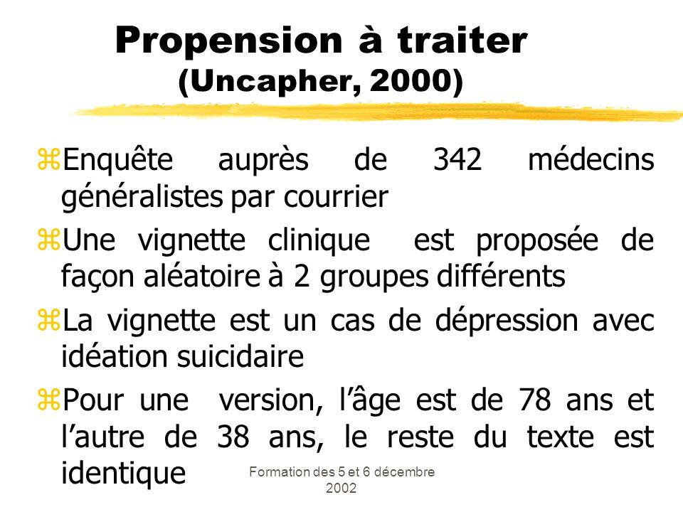 Propension à traiter (Uncapher, 2000)