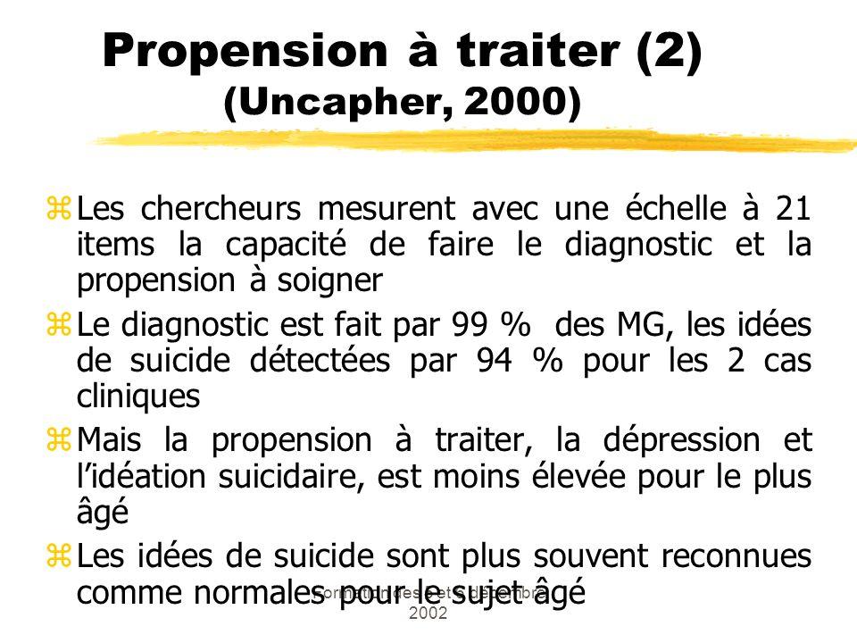 Propension à traiter (2) (Uncapher, 2000)