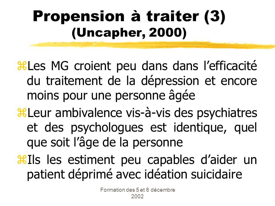 Propension à traiter (3) (Uncapher, 2000)
