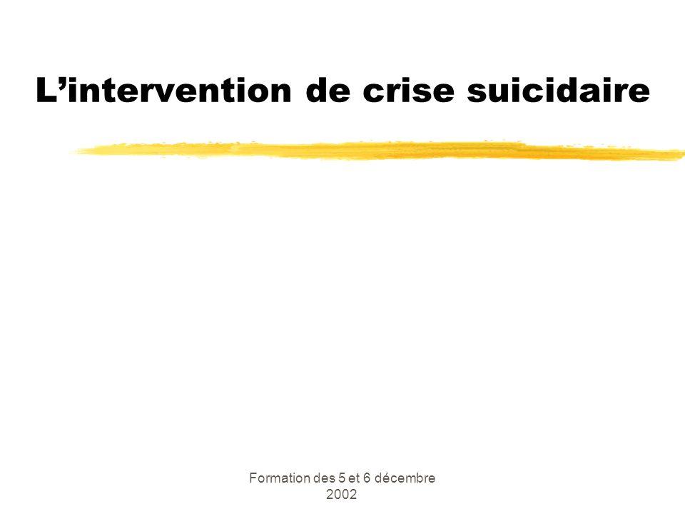 L'intervention de crise suicidaire