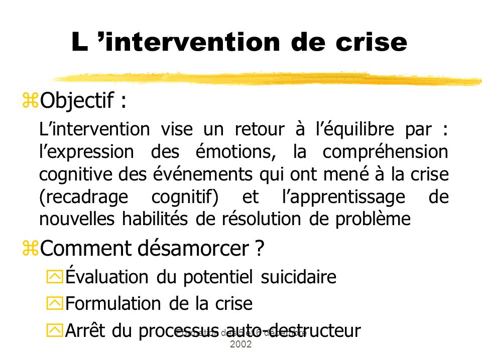 L 'intervention de crise