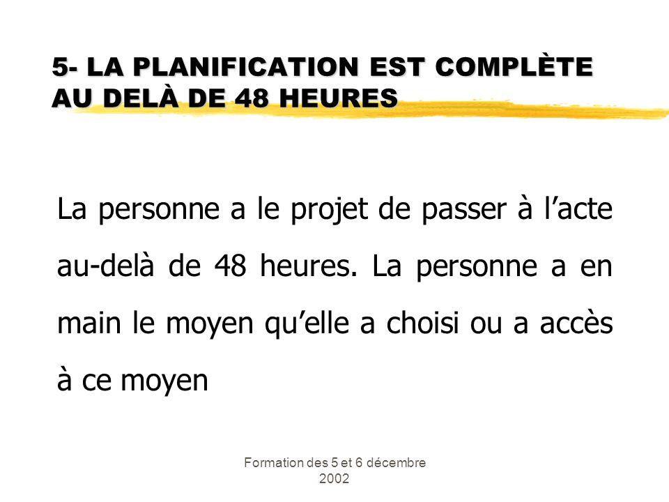 5- LA PLANIFICATION EST COMPLÈTE AU DELÀ DE 48 HEURES