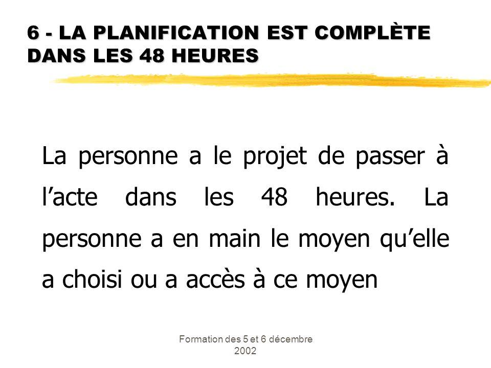 6 - LA PLANIFICATION EST COMPLÈTE DANS LES 48 HEURES