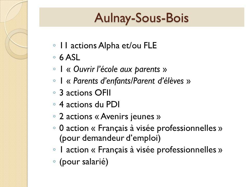 Aulnay-Sous-Bois 11 actions Alpha et/ou FLE 6 ASL