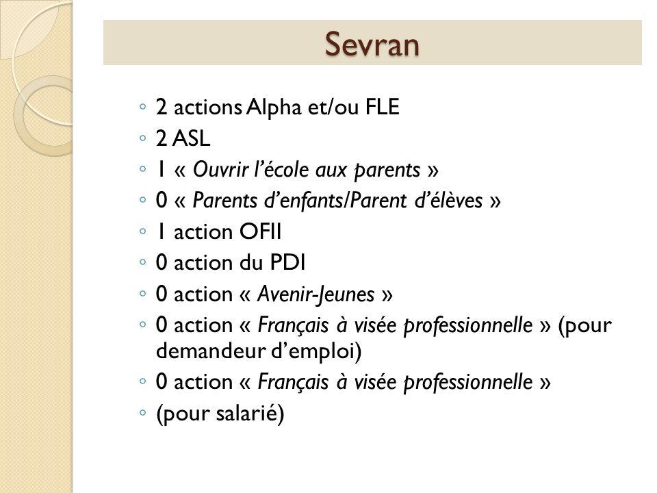 Sevran 2 actions Alpha et/ou FLE 2 ASL