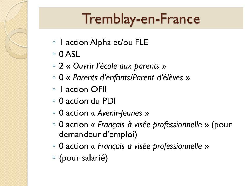 Tremblay-en-France 1 action Alpha et/ou FLE 0 ASL