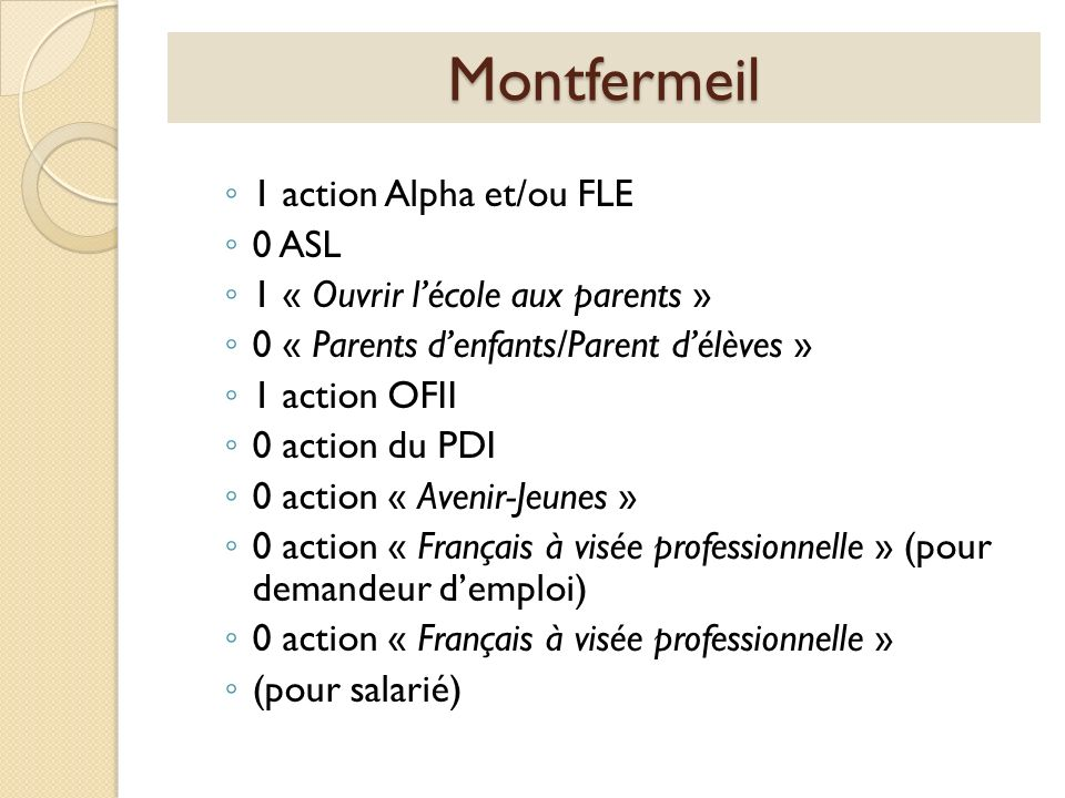 Montfermeil 1 action Alpha et/ou FLE 0 ASL