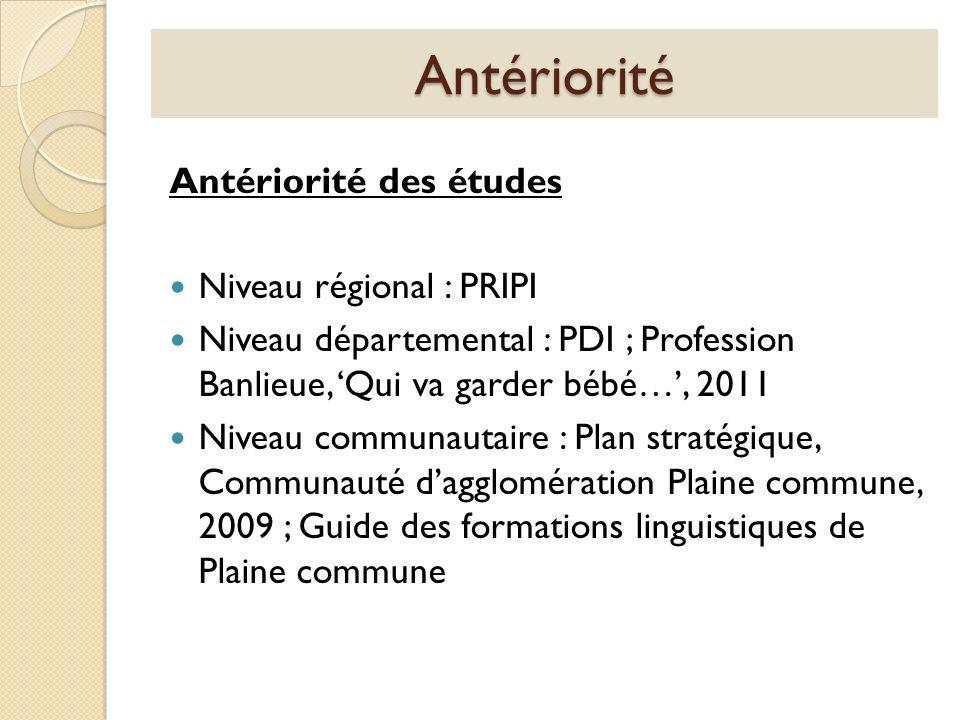 Antériorité Antériorité des études Niveau régional : PRIPI