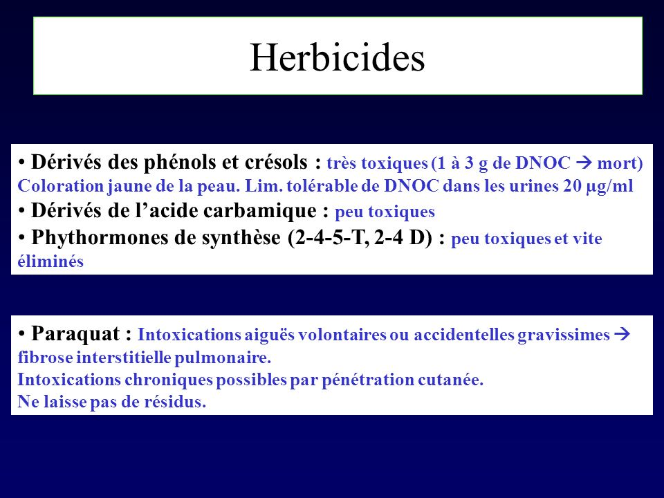 Herbicides Dérivés des phénols et crésols : très toxiques (1 à 3 g de DNOC  mort)