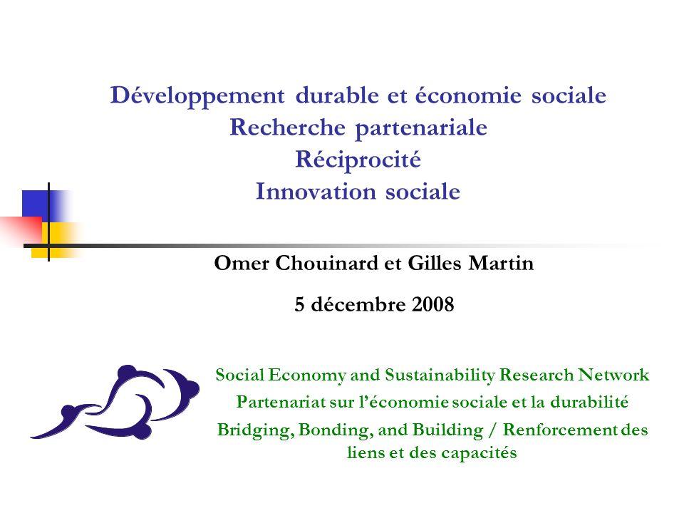 Développement durable et économie sociale Recherche partenariale Réciprocité Innovation sociale