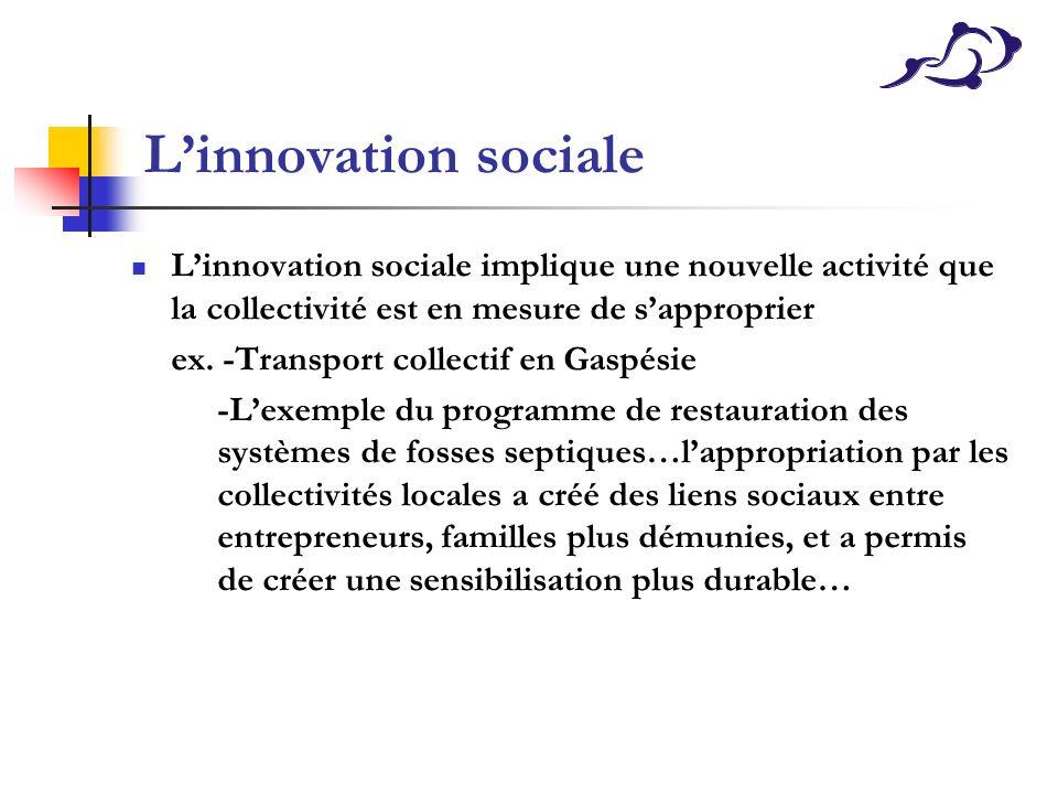 L'innovation sociale L'innovation sociale implique une nouvelle activité que la collectivité est en mesure de s'approprier.