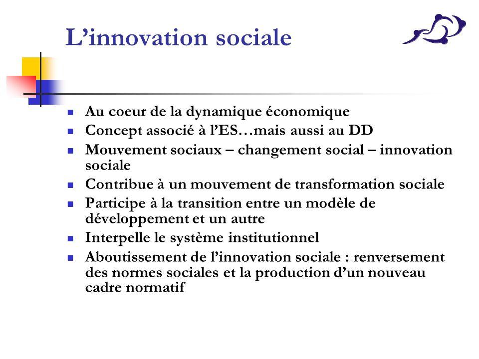 L'innovation sociale Au coeur de la dynamique économique