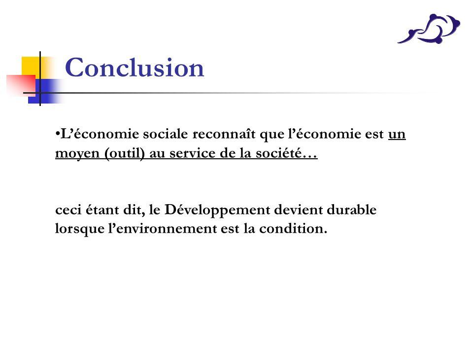 Conclusion L'économie sociale reconnaît que l'économie est un moyen (outil) au service de la société…
