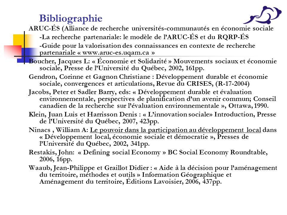 Bibliographie ARUC-ÉS (Alliance de recherche universités-communautés en économie sociale.