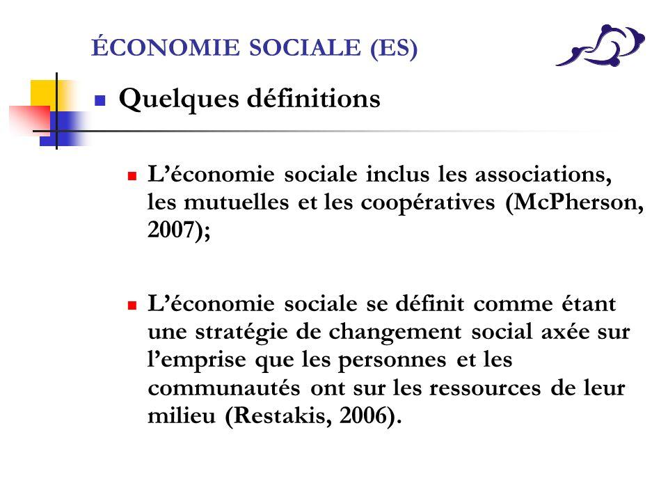 Quelques définitions ÉCONOMIE SOCIALE (ES)