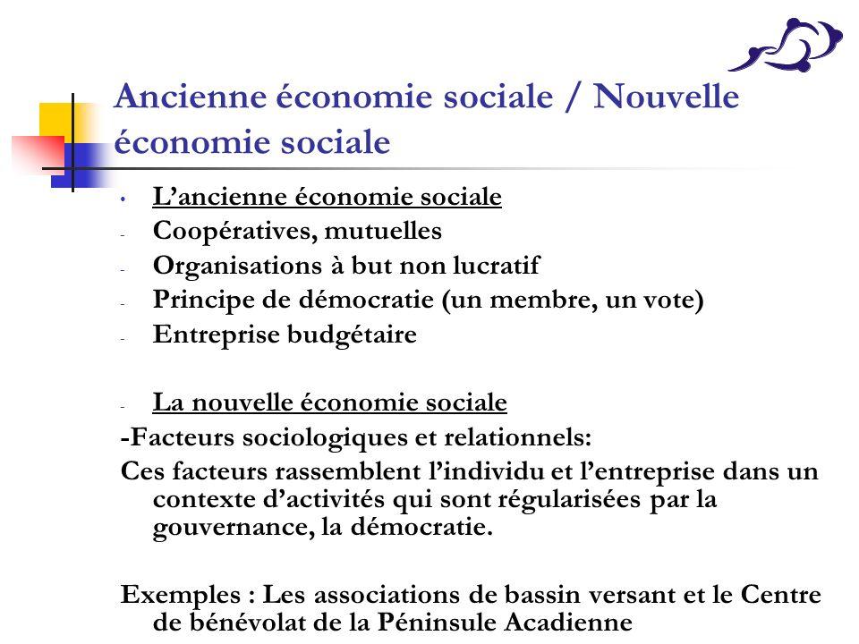 Ancienne économie sociale / Nouvelle économie sociale