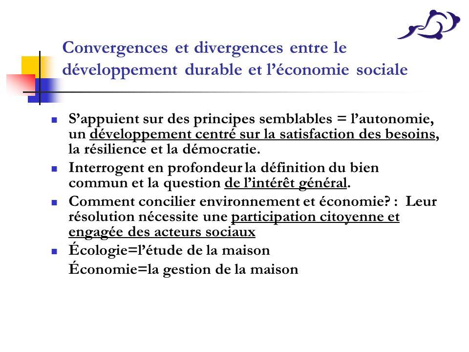 Convergences et divergences entre le développement durable et l'économie sociale