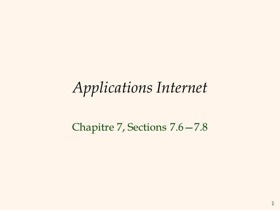 Applications Internet
