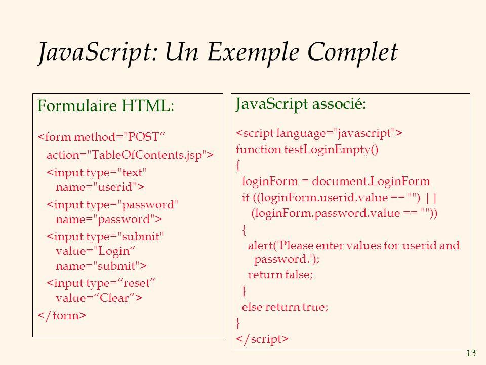 JavaScript: Un Exemple Complet