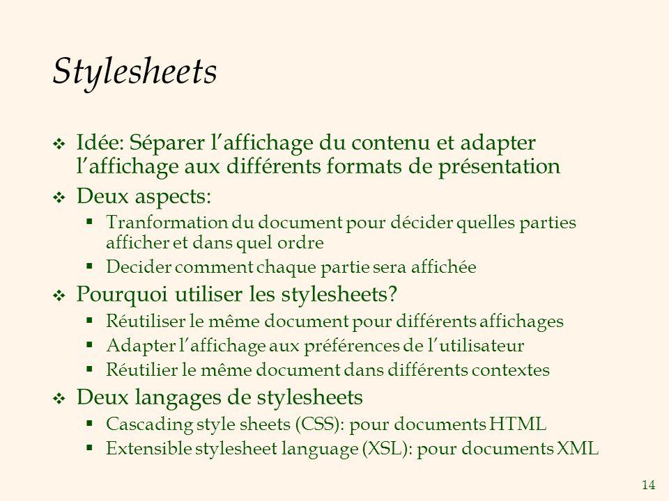 Stylesheets Idée: Séparer l'affichage du contenu et adapter l'affichage aux différents formats de présentation.