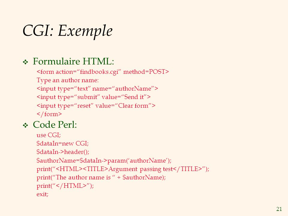 CGI: Exemple Formulaire HTML: Code Perl: